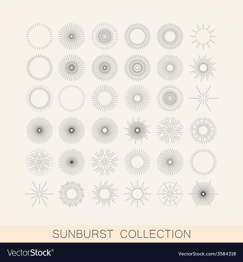 Set geometric sunburst and light ray shapes