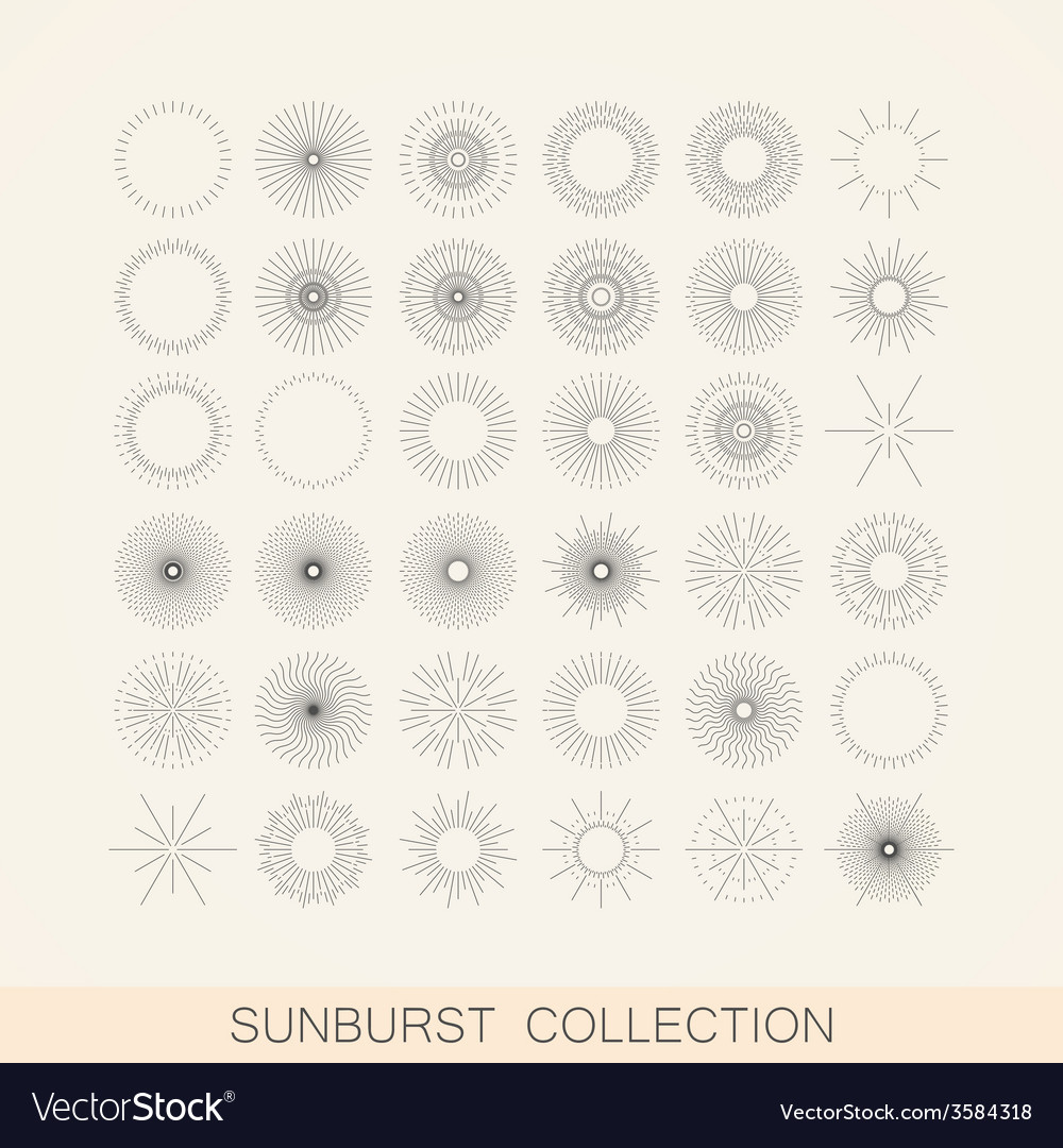 Set of geometric sunburst and light ray shapes