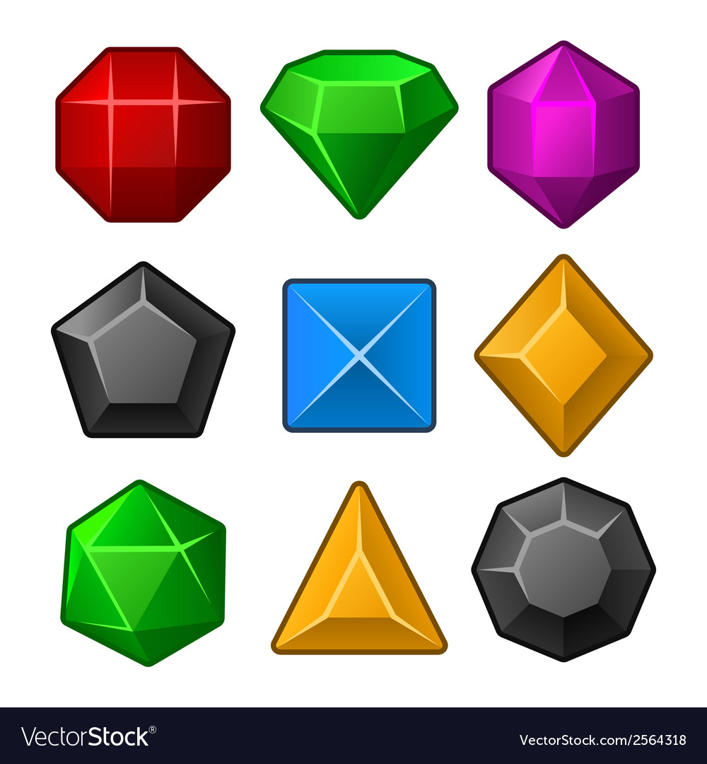 Set of Multicolored Gems for Match3 Games