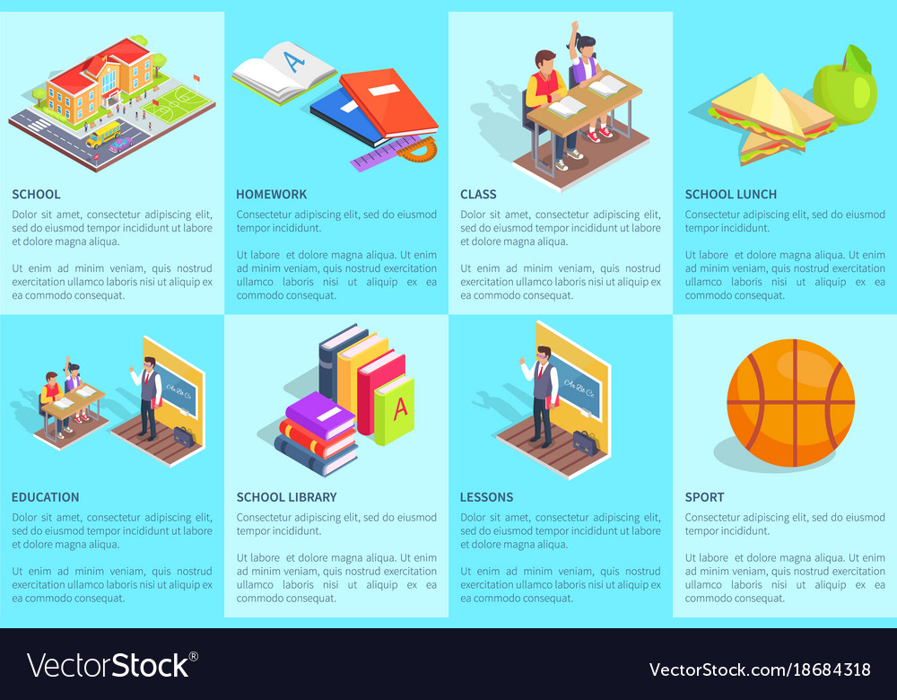 Set of posters dedicated to studying at school