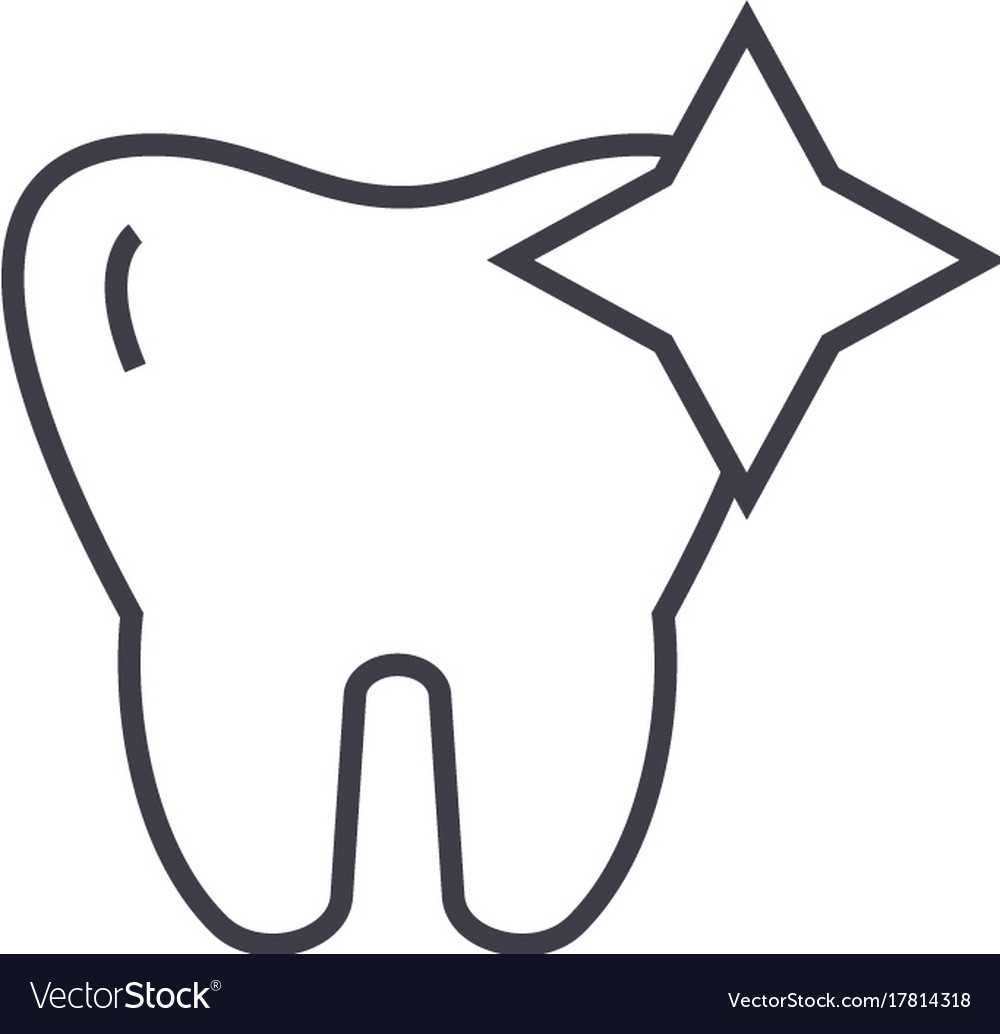 Tooth with shinecleaned teeth line icon vector image