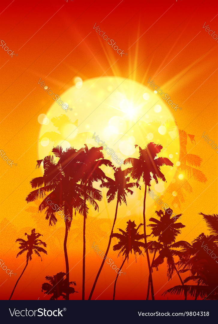 Yellow shining moon with black palm trees