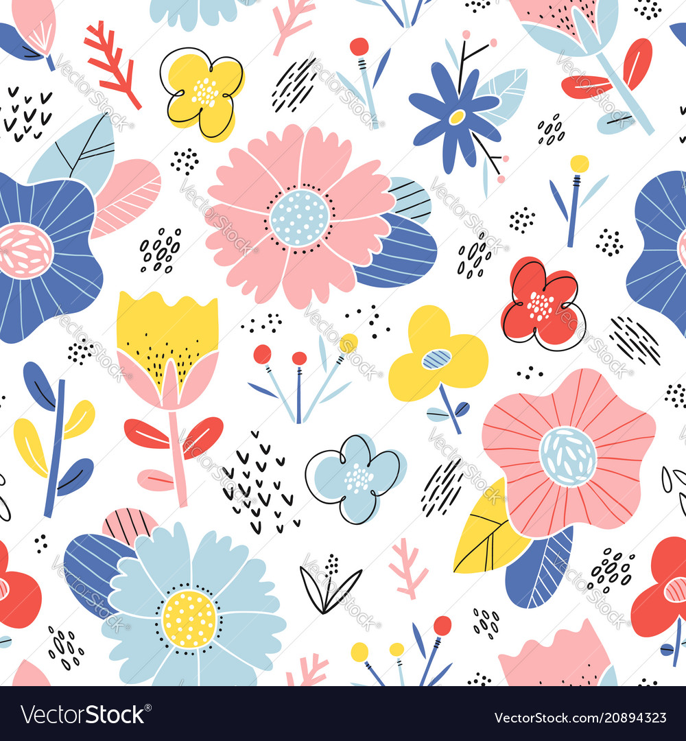 Abstract happy flowers pattern
