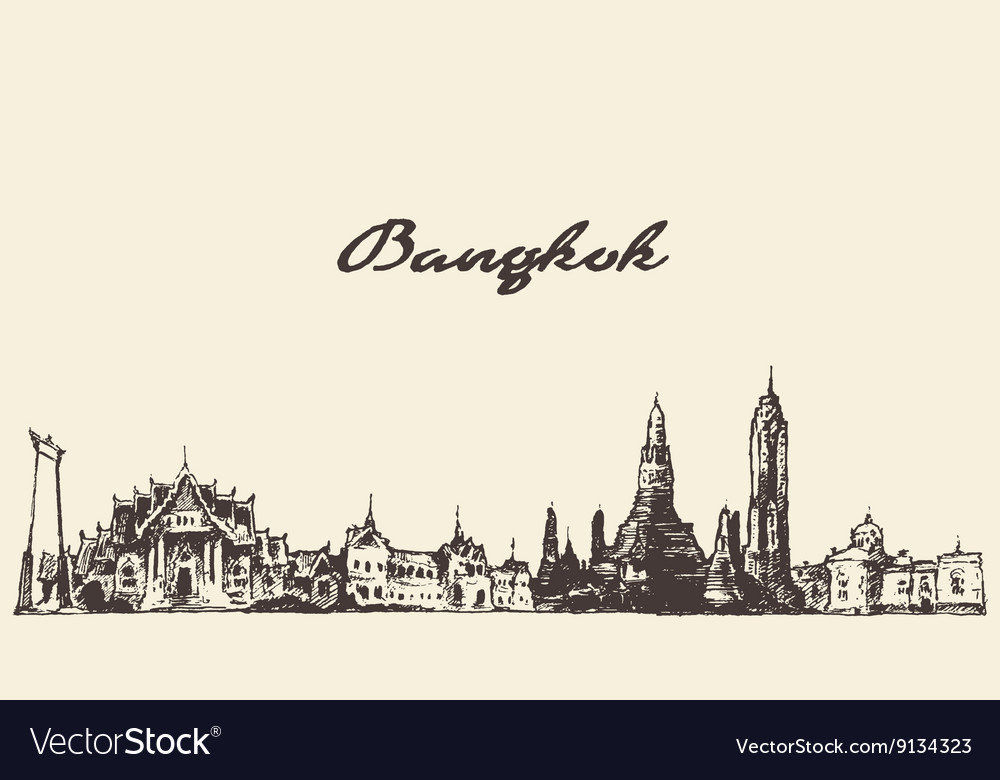 Bangkok skyline Thailand hand drawn
