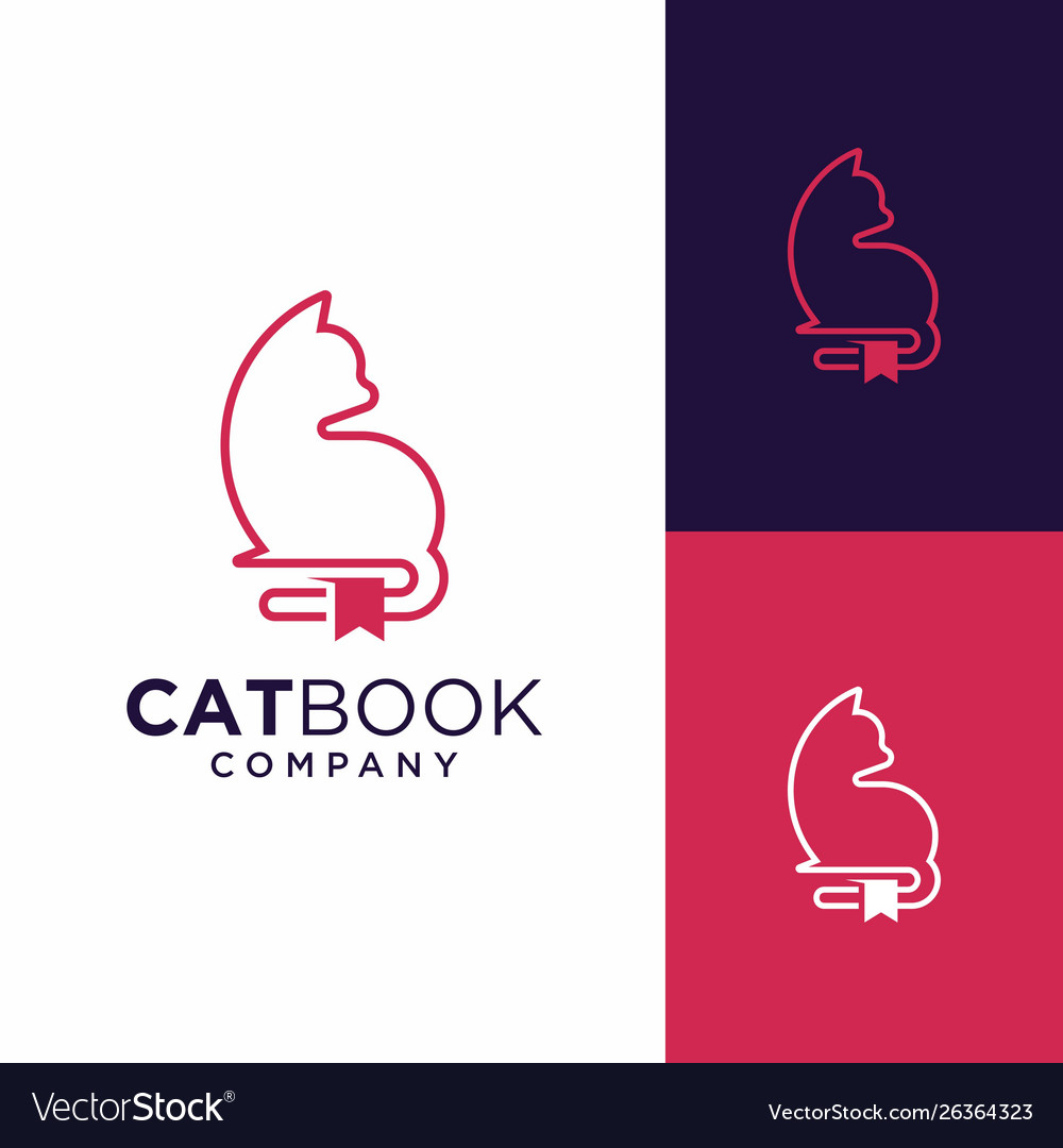 Cat book logo design inspiration