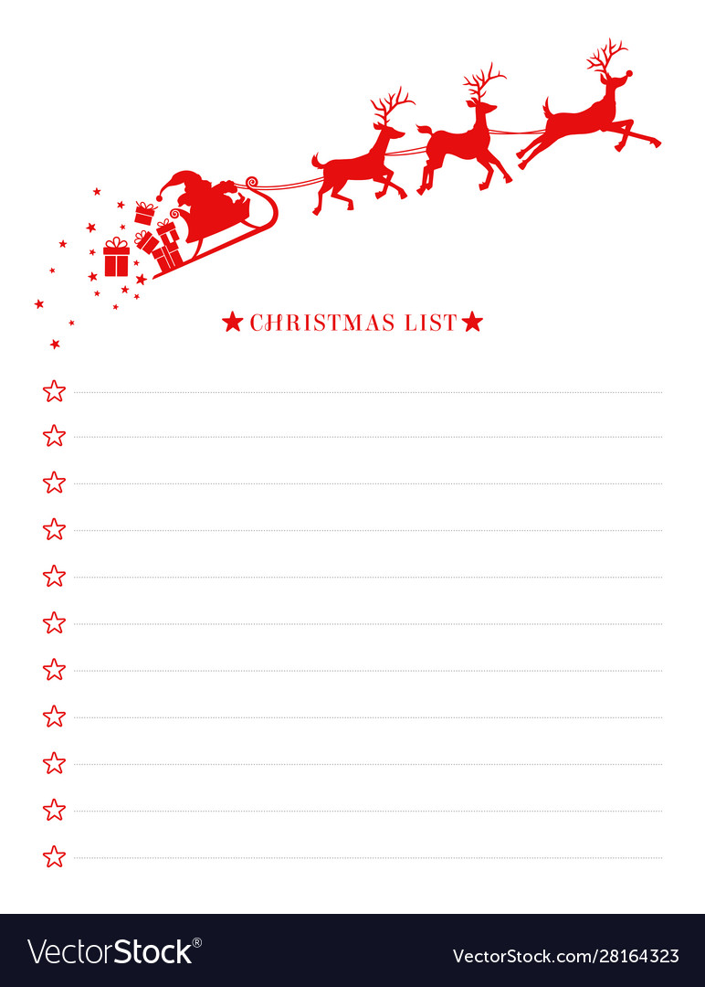 Christmas Wish List With Santa Sleigh Template Vector Image