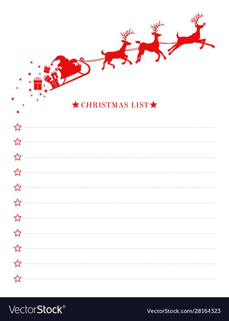 Christmas wish list with santa sleigh template