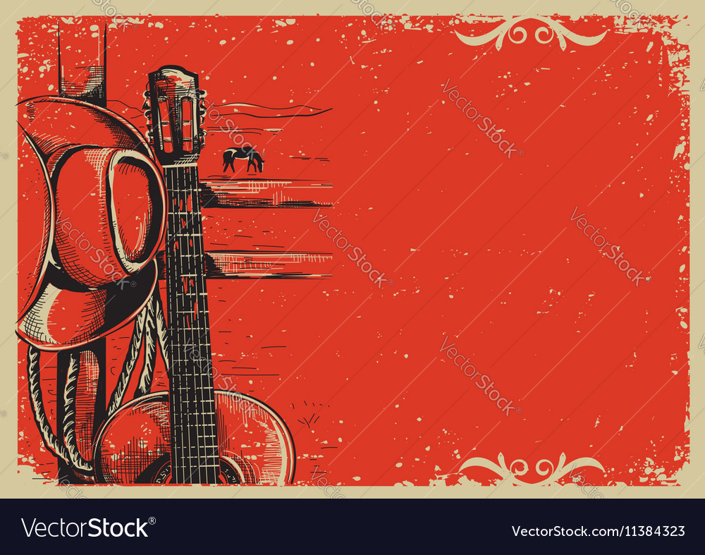 Country music poster with cowboy hat and guitar on