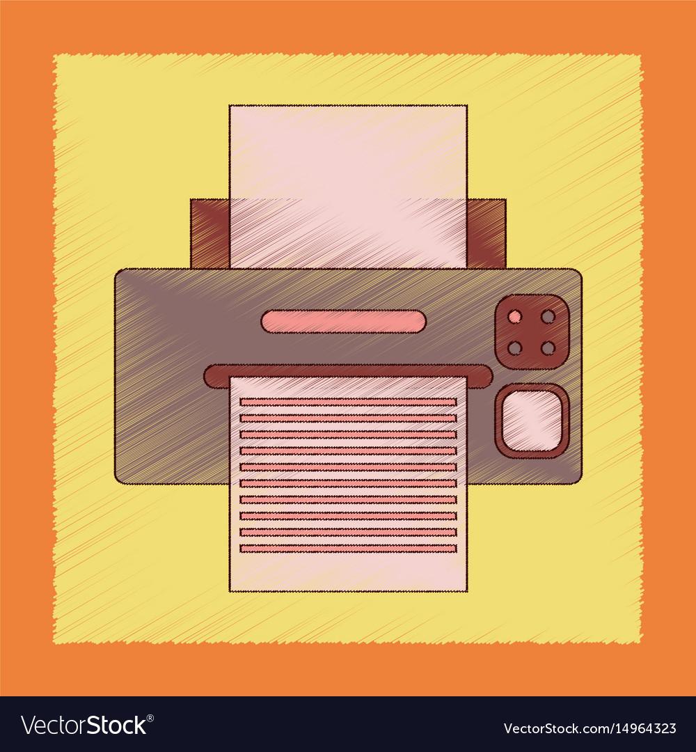 Flat shading style icon computer printer
