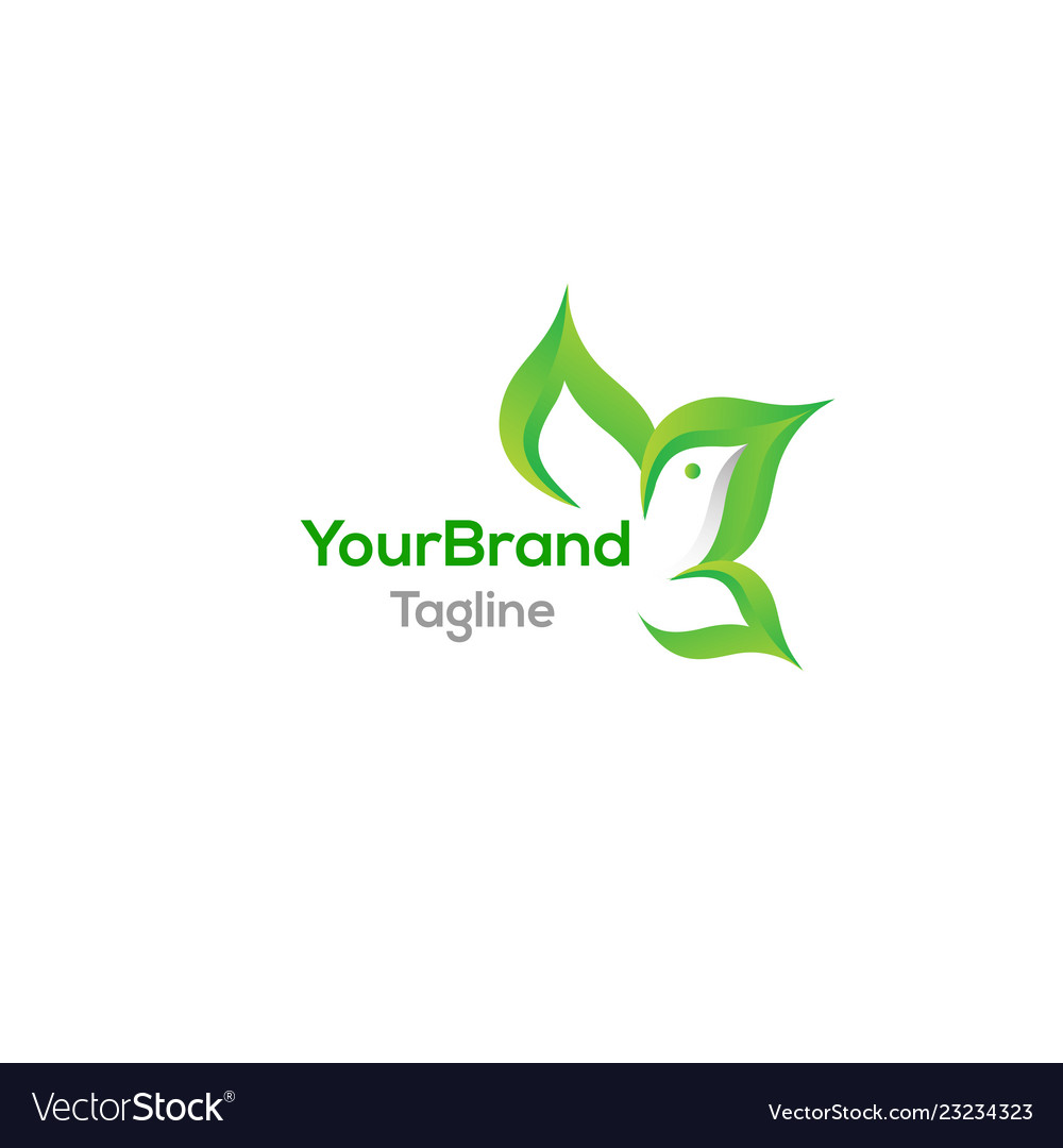 Green bird with leaf logo template