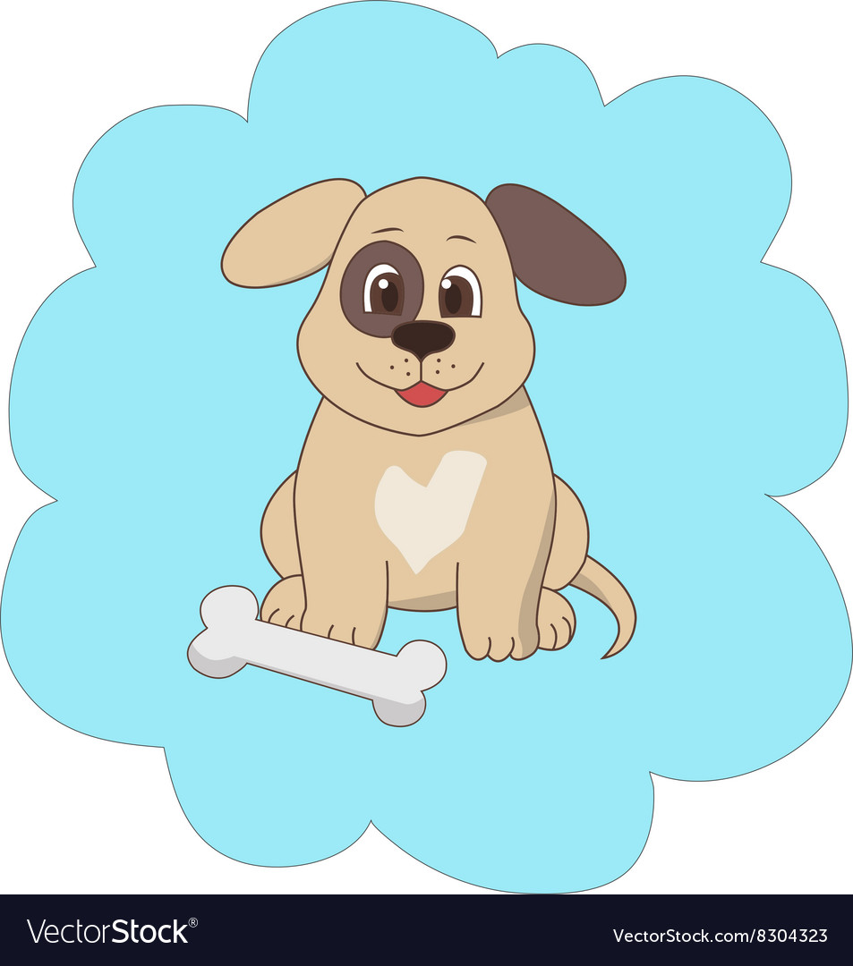 Happy dog with a bone vector image