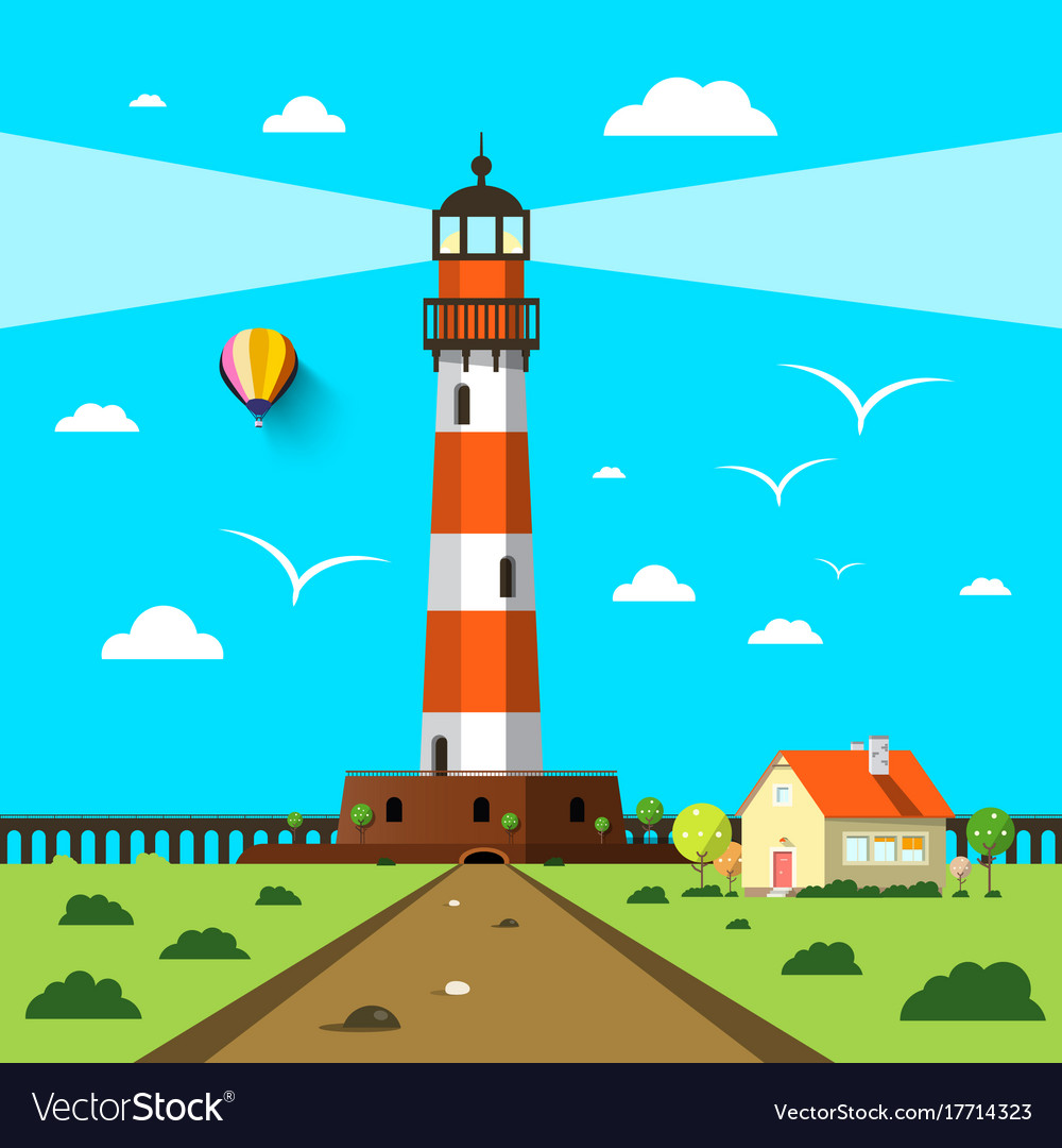 Lighthouse with house and hot air balloon on