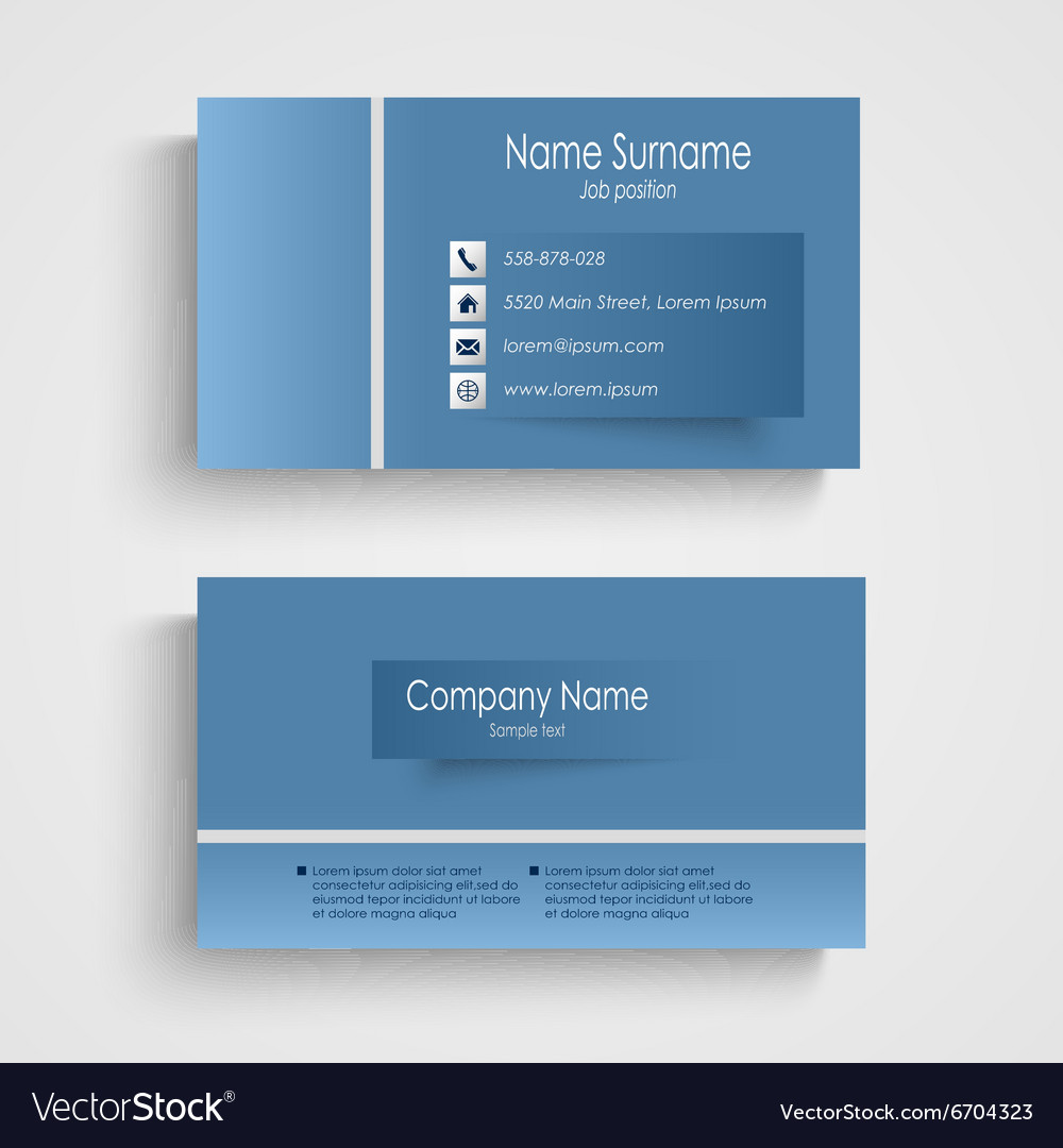 Modern blue business card with sticker template Vector Image