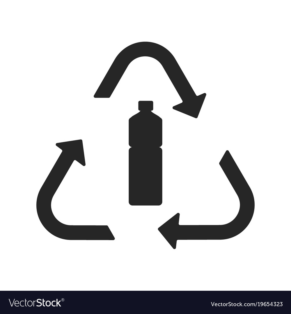 Plastic Recycling Symbol Flat Icon Royalty Free Vector Image
