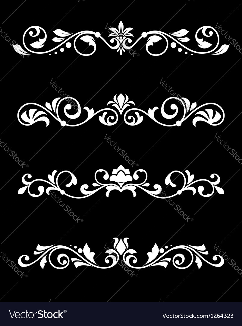 Retro borders and dividers in floral style vector image