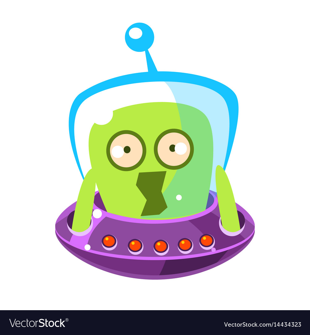 Scared green alien cute cartoon monster colorful