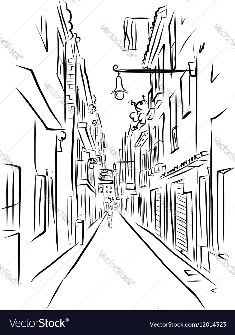 Sketch of old street for your design vector image
