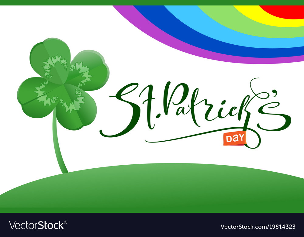 St patrick s day text greeting card and luck leaf