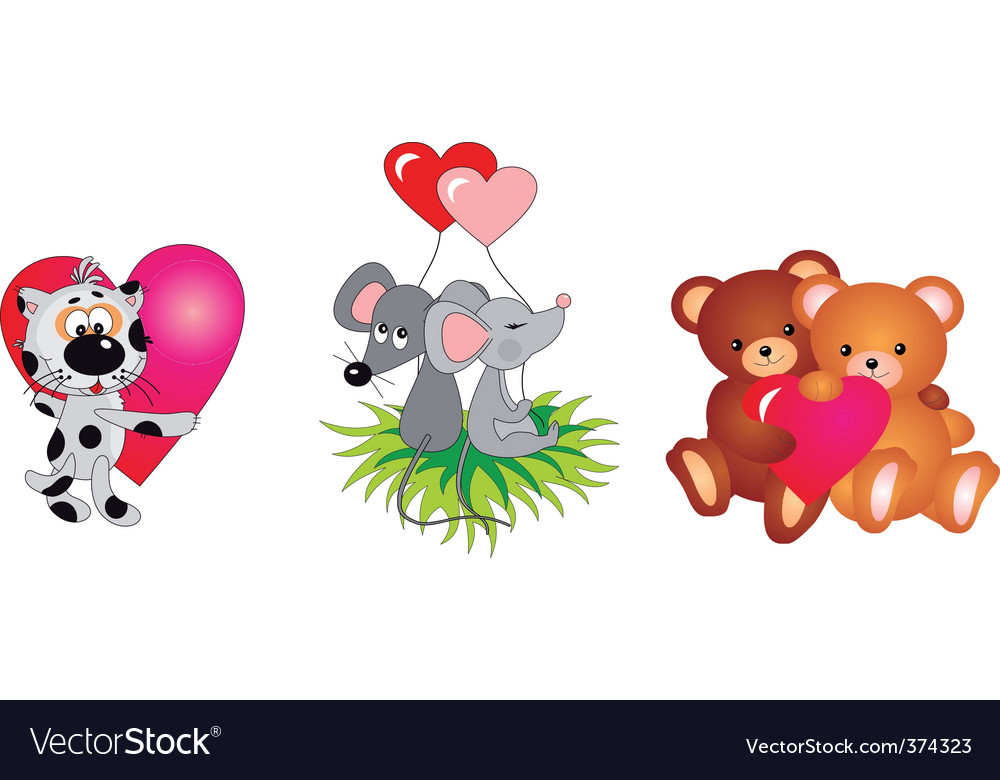 Valentines day animals vector collection
