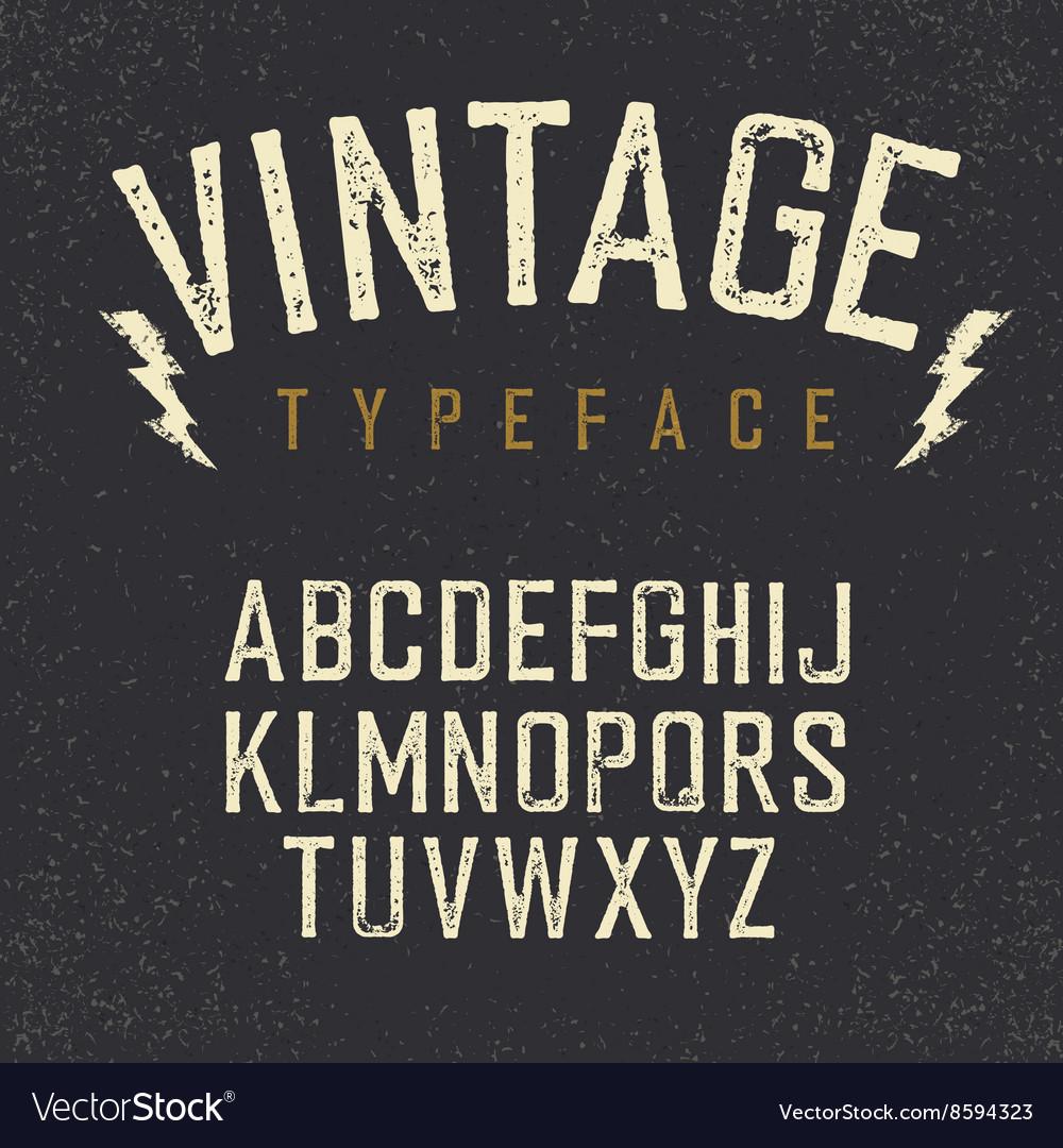 Vintage retro typeface Stamped alphabet white vector image