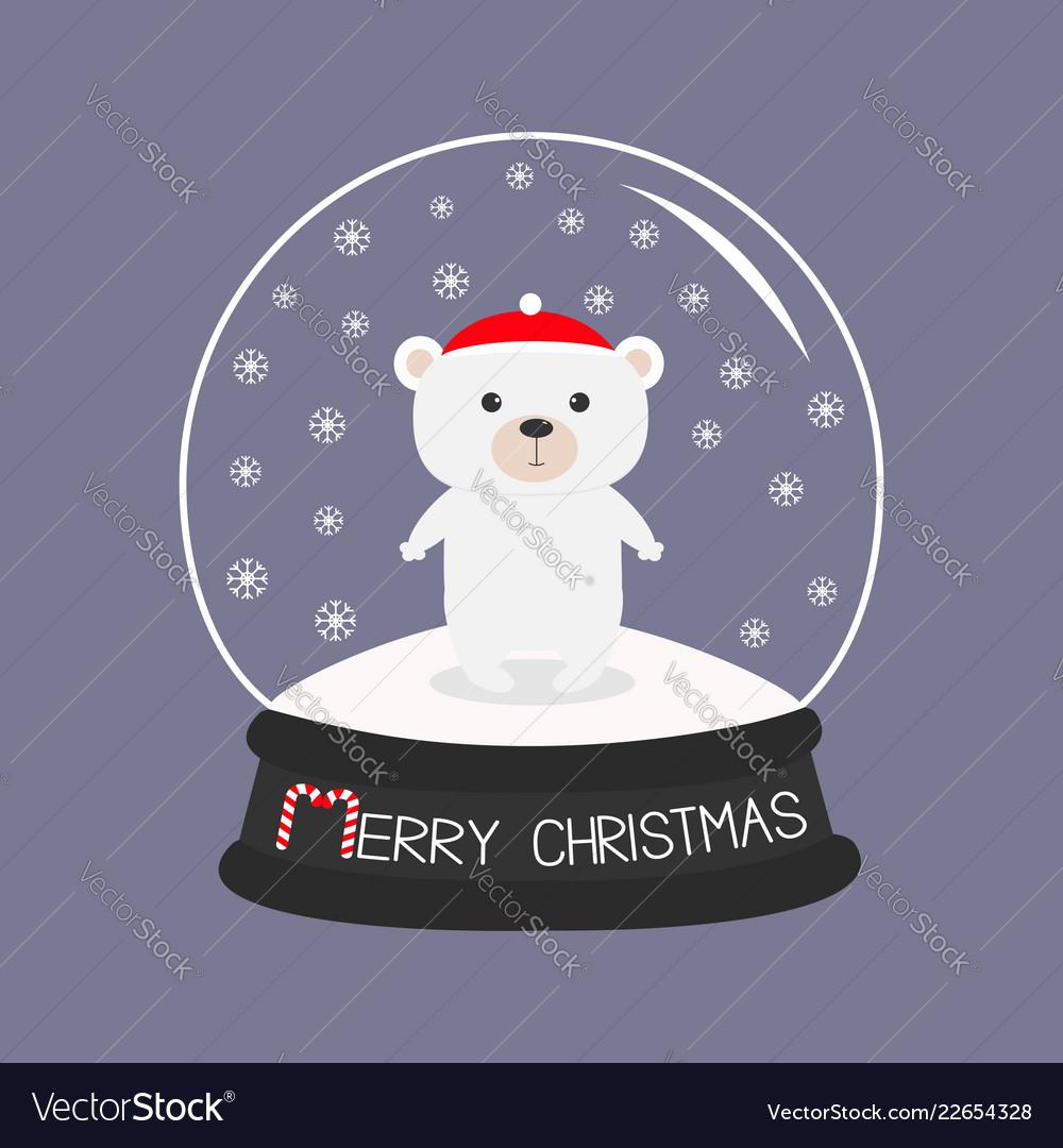 Arctic polar baby bear cub in red santa hat cute