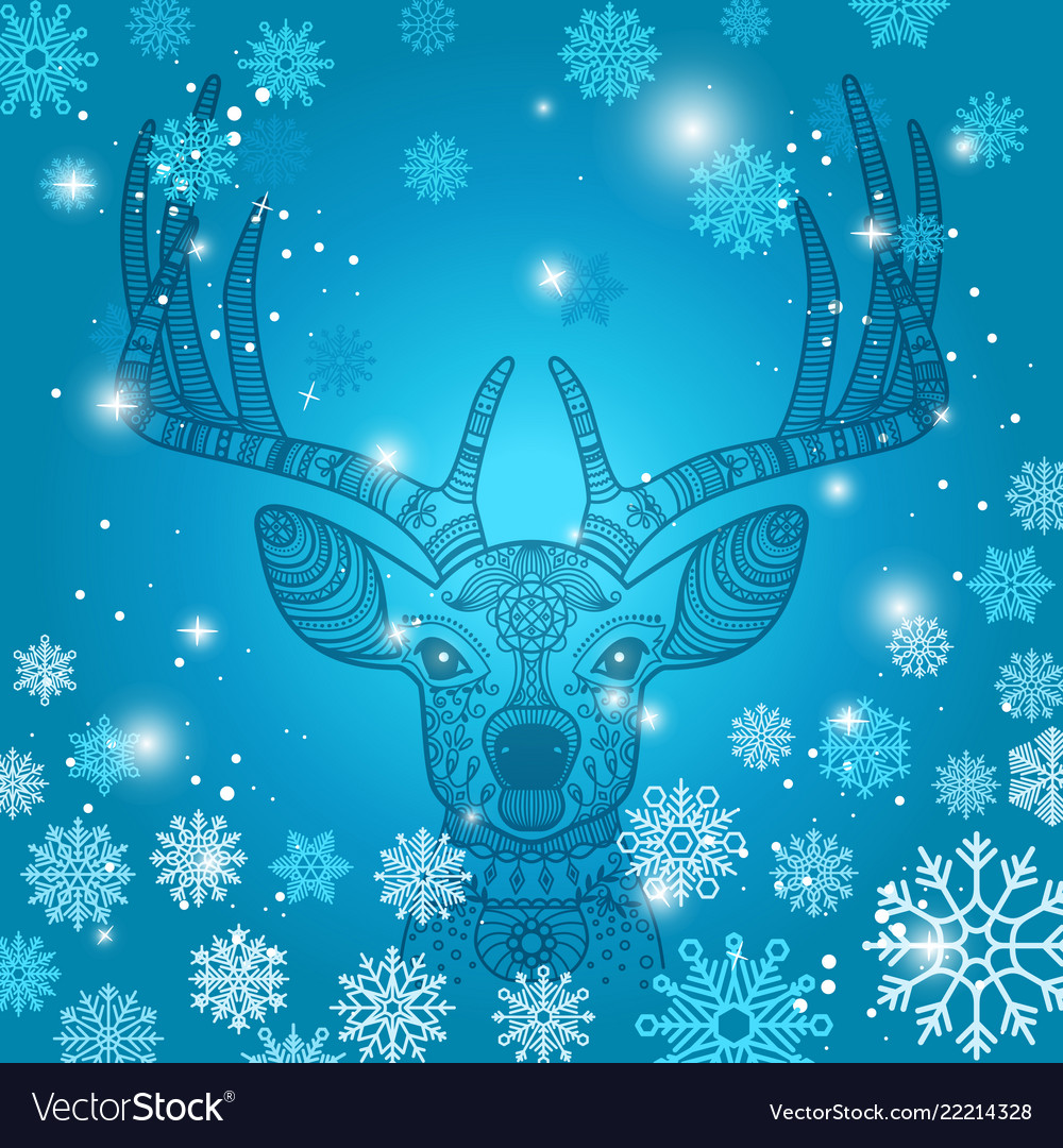 Deer and snowflakes doodle background