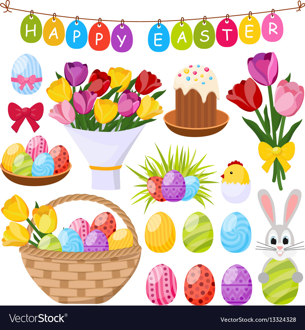 Easter day decorative icons set