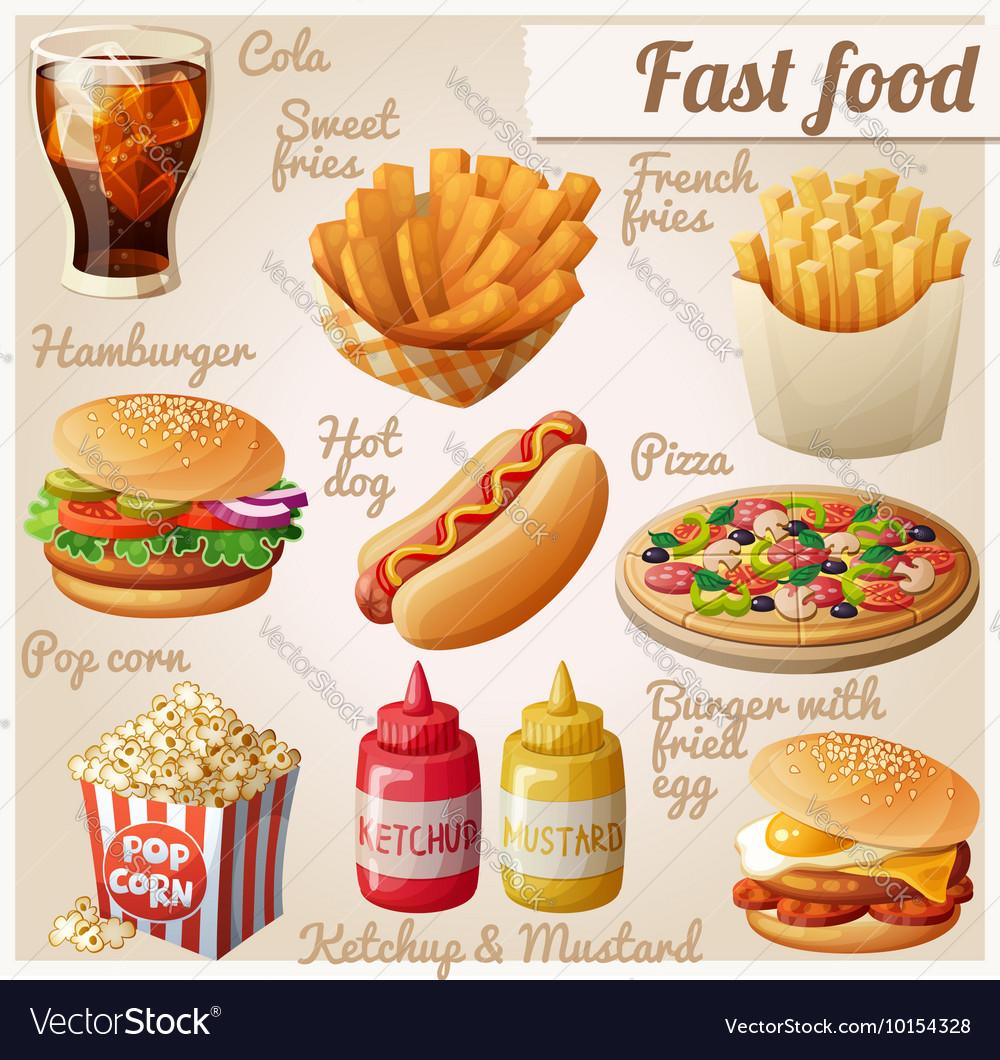 Fast food Set of cartoon food icons