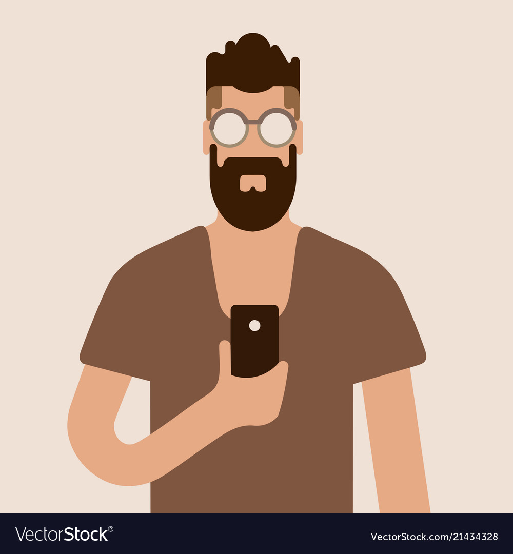 Flat hipster man character