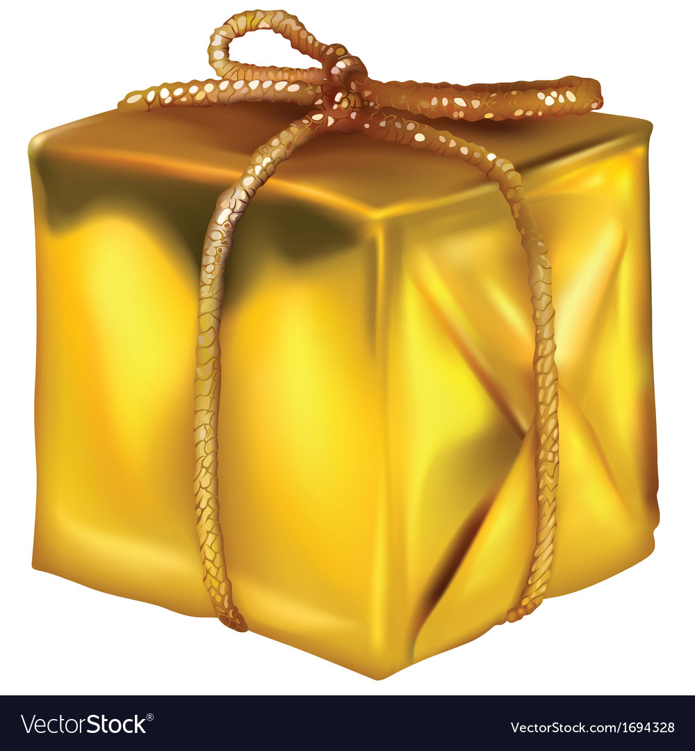 Gold Christmas Present vector image