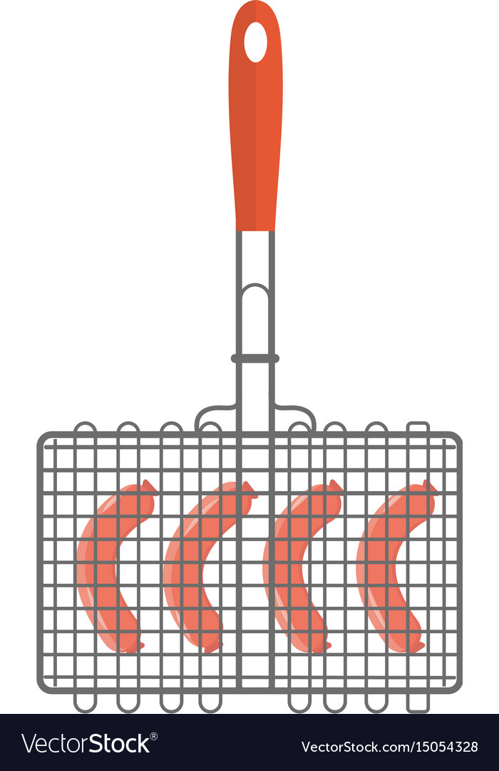 Grill on the grilles sausage icon flat style