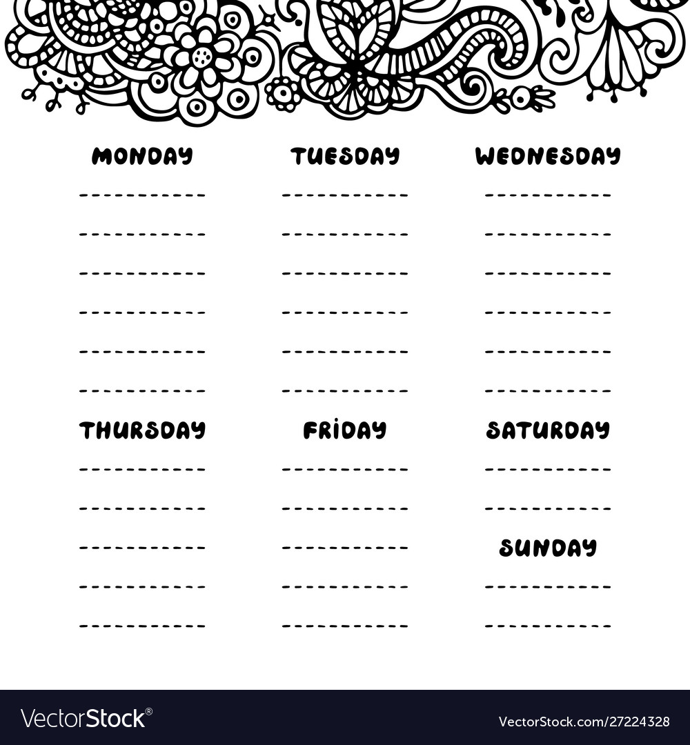 Hand drawing black and white weekly planner