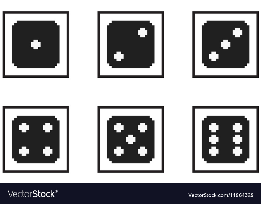 Monochrome pixel-art pixelated black dices with