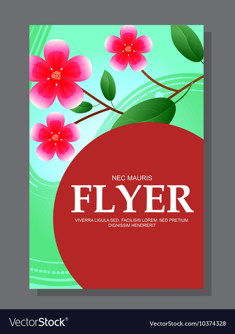 Red flowers on a flyer Can be used as greeting
