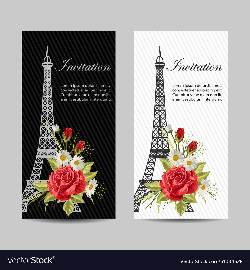 Set vertical banners with eiffel tower and