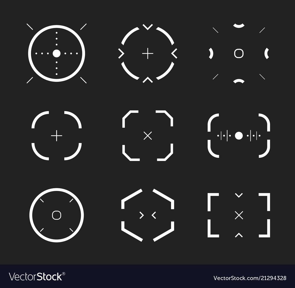 Sniper aim bullseye scope icons set modern