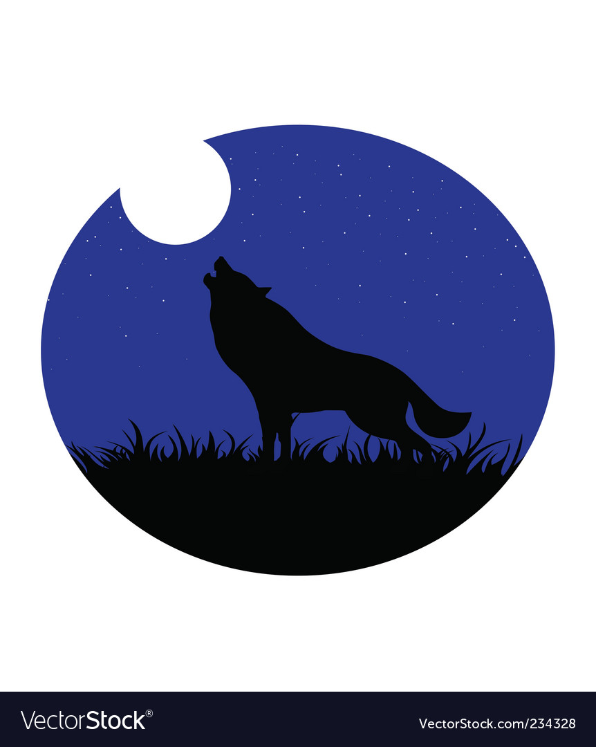Wolf howling moon