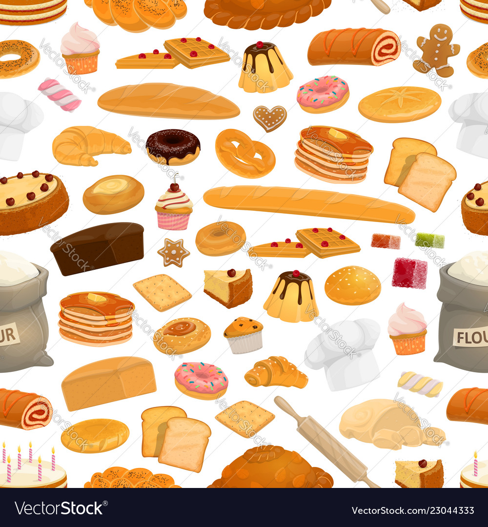 Bakery confectionery sweets seamless pattern