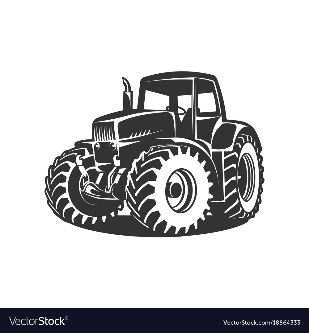 Black tractor on white background