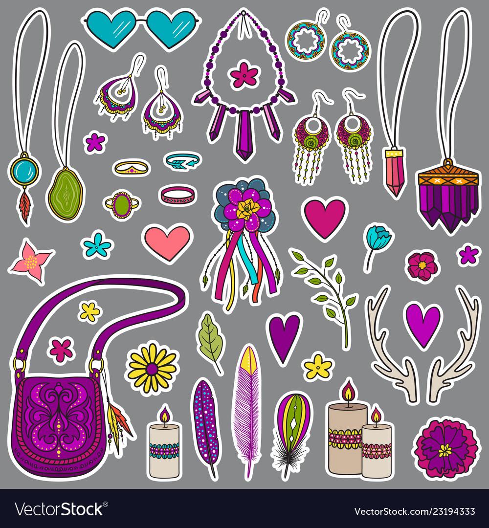 Bohemian girly set of stickers