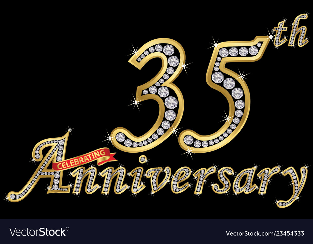 Celebrating 35th anniversary golden sign with
