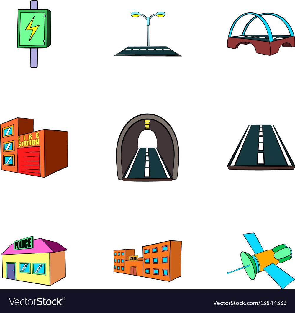 City construction icons set cartoon style