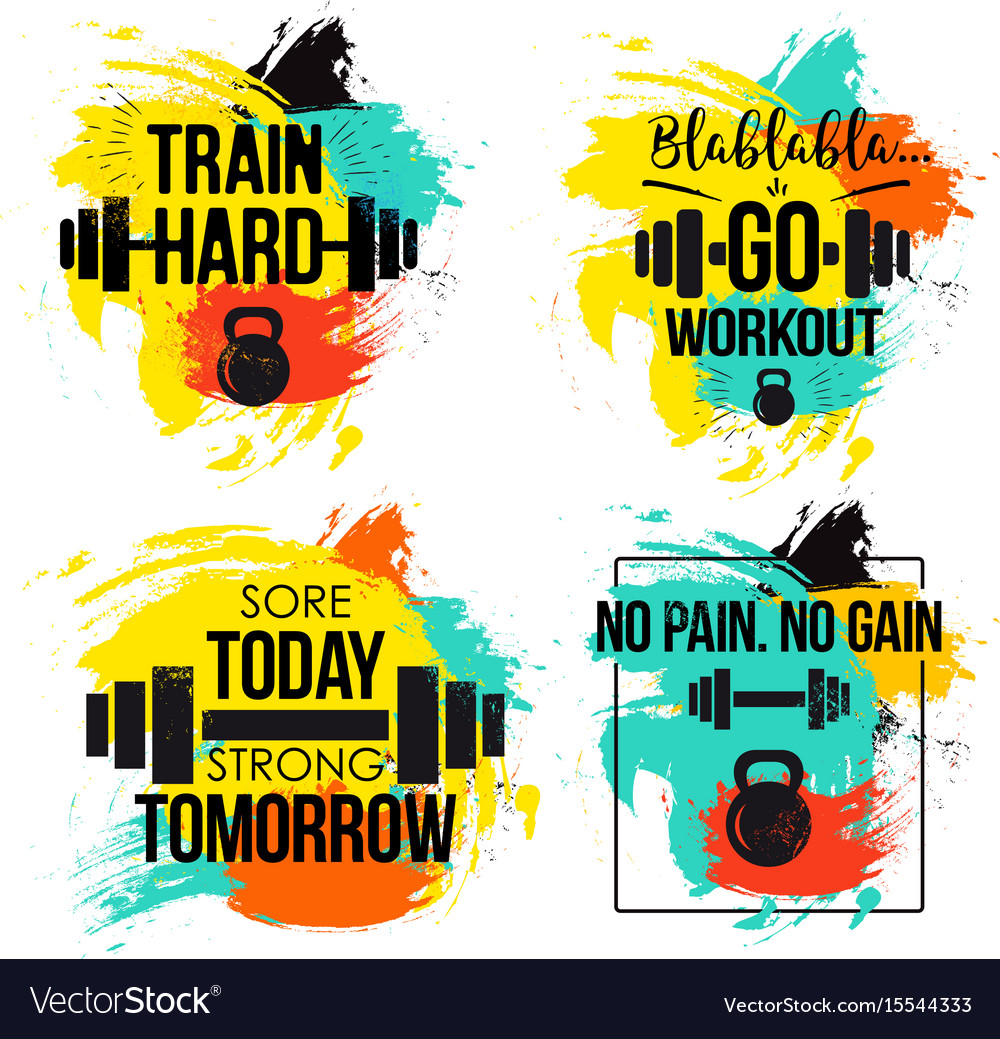 Gym and fitness motivation quote set