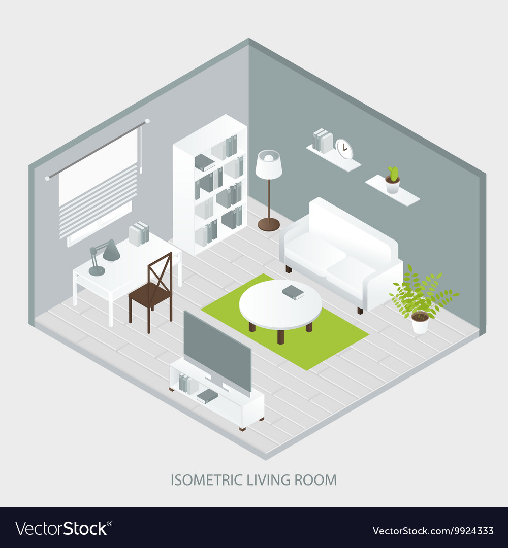 Isometric Home Interior Royalty Free Vector Image