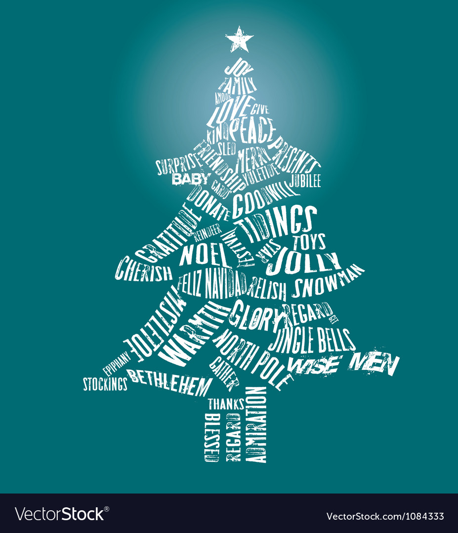 Merry Christmas Tree Text vector image