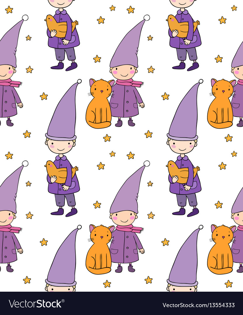 Seamless pattern with cute gnome cat and bird