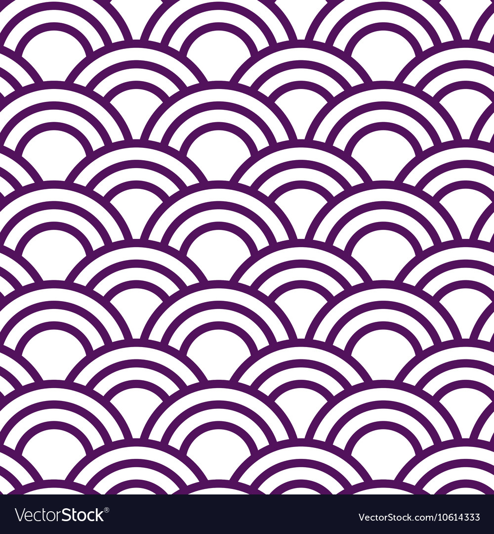 Seamless wave japanese pattern in white and violet