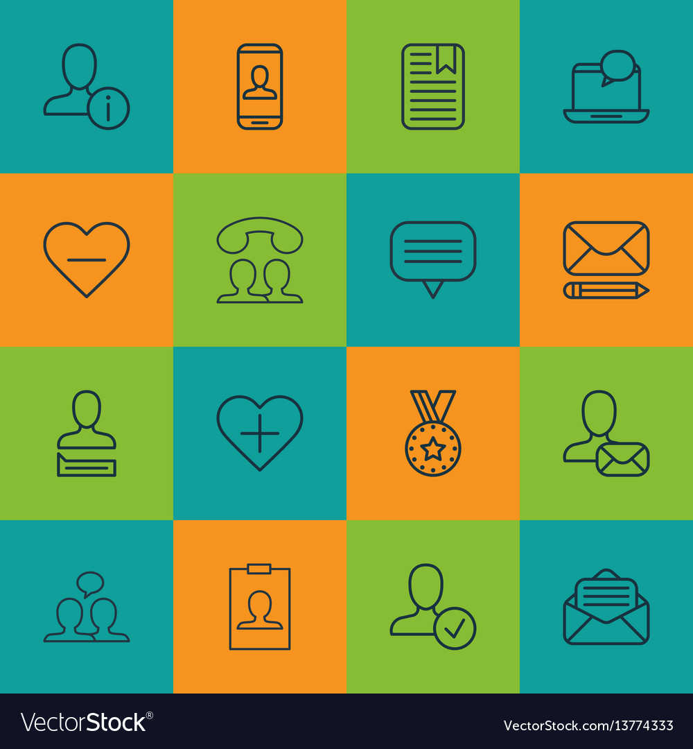 Set of 16 communication icons includes identity