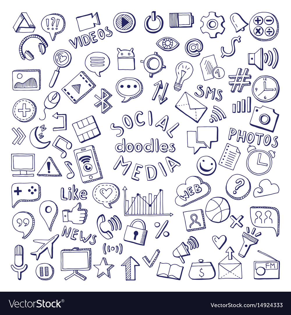 Social media hand drawn icons set computer and