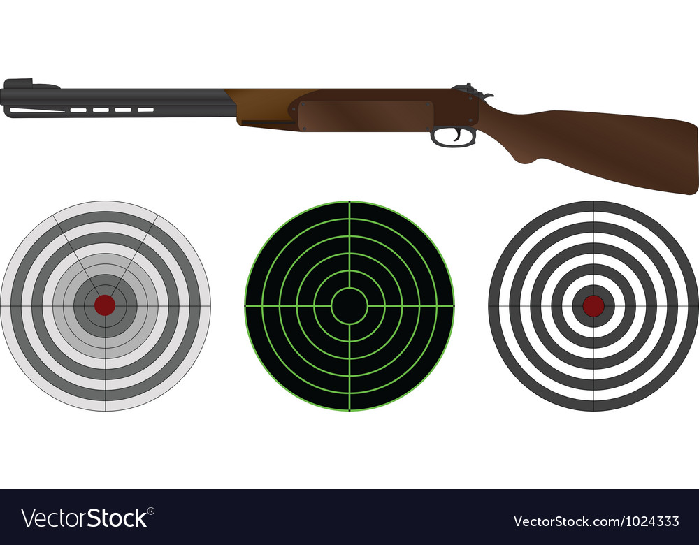 Sporting gun and targets vector image